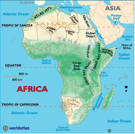 Physical Features Map Of Africa Physical Features of Africa   AGS Geography